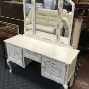 PAINTED DISTRESSED DRESSING TABLE & MIRROR