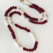 GEMSTONE & PEARL NECKLACE - MAGNETIC CLASP - 70CM