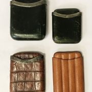 4 LEATHER CIGAR CASES- 3 WITH SILVER BANDS