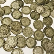 QTY OF SILVER 3d COINS WITH OTHERS