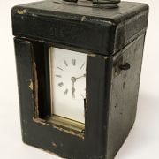 BRASS CARRIAGE CLOCK WITH CASE & KEY