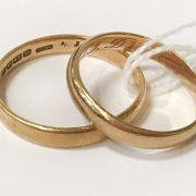 TWO 18CT GOLD BANDS - RING SIZES S & W - 7.9 GRAMS APPROX.