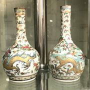 PAIR OF EARLY CHINESE STEM VASES - 16CMS