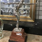 SILVER PLATE DECO STYLE FIGURE ON MARBLE BASE - 49CM