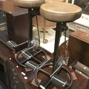 PAIR TAN LEATHER PEDAL STOOLS