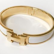 HERMES GOLD PLATED & ENAMEL BANGLE - COMPLETE WITH CASE & PURCHASE BAG