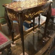 INLAID SIDE TABLE WITH DRAWER & SLIDE