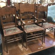 SET OF COUNTRY ARTS & CRAFTS CHAIRS