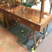 MILITARY STYLE DESK WITH BRASS TRIM