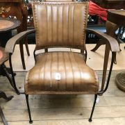 TAN LEATHER COCKTAIL CHAIR