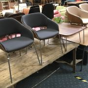 TWO PAIRS OF HALO / BONAIRE WALNUT CHAIRS & A COFFEE TABLE