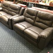 SCS ASHLEY MANOR AXEL BROWN LEATHER 3 SEATER & 2 SEATER SOFAS