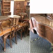 WALNUT DINING TABLE, SIX CHAIRS & SIDEBOARD A/F