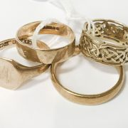 COLLECTION 9CT GOLD RINGS - SIZE J O P S - 12.9 GRAMS APPROX.