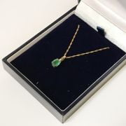 9CT GOLD 18'' CHAIN WITH EMERALD PENDANT