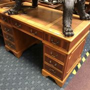 YEW LEATHER TOP PEDESTAL DESK