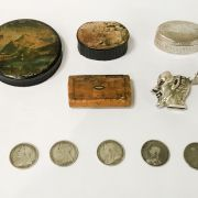 HM SILVER VESTA, THE DEVIL WITH RED EYES, 3 WOODEN SNUFF BOXES, 1 HM SILVER...