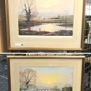 PAIR OF PRINTS BY PETER COSSETT IN FRAMES - 46CM x 46CM PICTURE