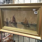 THOMAS BUSH HARDY VIEW OF BOULOUGNE HARBOUR WATERCOLOUR INNER FRAME MEASURE...