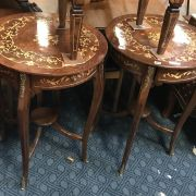 PAIR OF ROUND INLAID TABLES