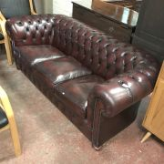 RED 3 SEATER CHESTERFIELD SOFA FROM CHESTERFIELD