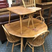 ERCOL TABLE & SIDE TABLE & 4 CHAIRS - A/F