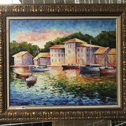 CANAL SCENE ALEXANDER ANTANEKA - OIL PAINTING - 32 X 38 INCHES