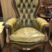 LEATHER BUTTON BACK CHAIR
