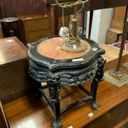 CARVED MARBLE TOP TABLE & BRASS TABLE LAMP