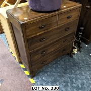 1960'S OAK CHEST OF FIVE DRAWERS