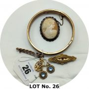 QTY VARIOUS 9CT GOLD JEWELLERY WITH CAMEO