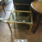 TWO METAL BAMBOO GLASS TOP TABLES