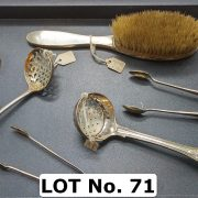 QTY. OF SILVER ITEMS, SPOONS & TONGS