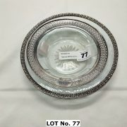 TWO SILVER & CUT GLASS DISHES - LARGEST 17 CMS (D)