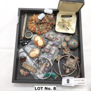 SMALL COLLECTION OF SILVER, MICRO MOSAIC & OTHER JEWELLERY