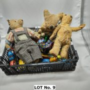 COLLECTION OF EARLY TINPLATE TOYS ETC INCL. EARLY TEDDIES
