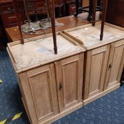 PAIR EARLY PITCH PINE CABINETS - A/F